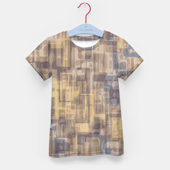 psychedelic geometric square pattern abstract in brown yellow and blue Kid's T-shirt obraz miniatury