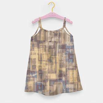 psychedelic geometric square pattern abstract in brown yellow and blue Girl's Dress obraz miniatury