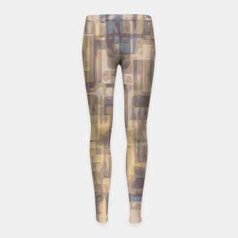 psychedelic geometric square pattern abstract in brown yellow and blue Girl's Leggings obraz miniatury