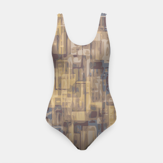 psychedelic geometric square pattern abstract in brown yellow and blue Swimsuit obraz miniatury