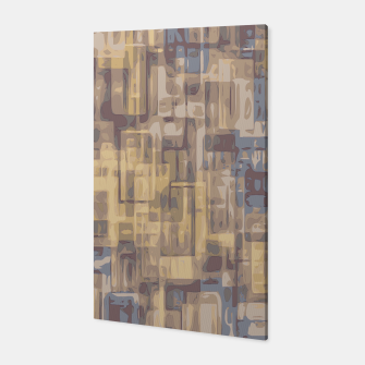 psychedelic geometric square pattern abstract in brown yellow and blue Canvas obraz miniatury