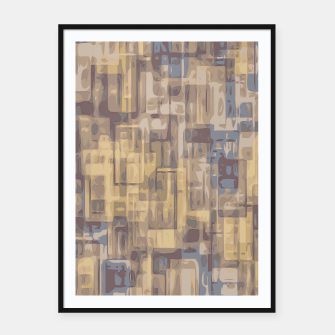 psychedelic geometric square pattern abstract in brown yellow and blue Framed poster obraz miniatury
