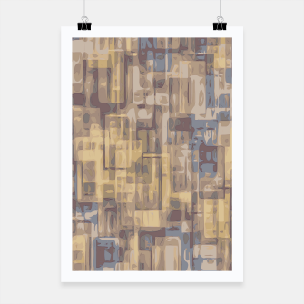 psychedelic geometric square pattern abstract in brown yellow and blue Poster obraz miniatury