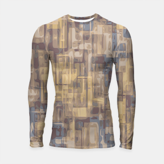 psychedelic geometric square pattern abstract in brown yellow and blue Longsleeve Rashguard  obraz miniatury
