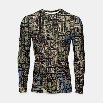 Thumbnail image of vintage psychedelic drawing and sketching abstract background in blue and brown Longsleeve Rashguard , Live Heroes
