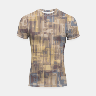 psychedelic geometric square pattern abstract in brown yellow and blue Shortsleeve Rashguard obraz miniatury