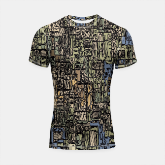 Thumbnail image of vintage psychedelic drawing and sketching abstract background in blue and brown Shortsleeve Rashguard, Live Heroes