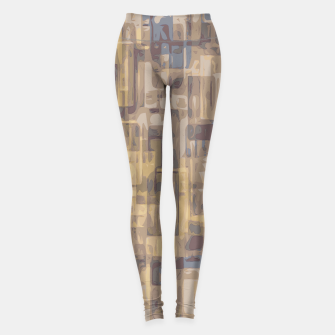 psychedelic geometric square pattern abstract in brown yellow and blue Leggings obraz miniatury