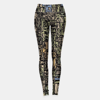 Thumbnail image of vintage psychedelic drawing and sketching abstract background in blue and brown Leggings, Live Heroes