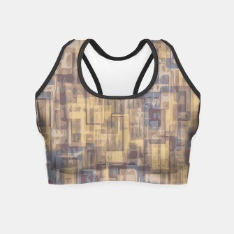 psychedelic geometric square pattern abstract in brown yellow and blue Crop Top obraz miniatury