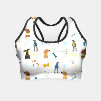 Thumbnail image of Sighthound Pattern Blue Crop Top, Live Heroes