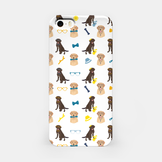 Thumbnail image of Labrador Retriever Pattern Blue iPhone Case, Live Heroes