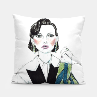 Thumbnail image of Millie Bobby Brown__Fashion Illustration Pillow, Live Heroes