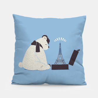 Thumbnail image of Traveler Tourist Eiffel Tower Bear Paris Pillow, Live Heroes