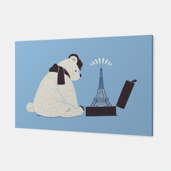 Thumbnail image of Traveler Tourist Eiffel Tower Bear Paris Canvas, Live Heroes