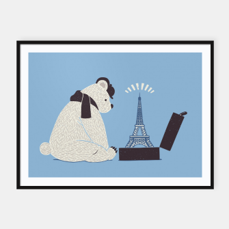 Thumbnail image of Traveler Tourist Eiffel Tower Bear Paris Framed poster, Live Heroes