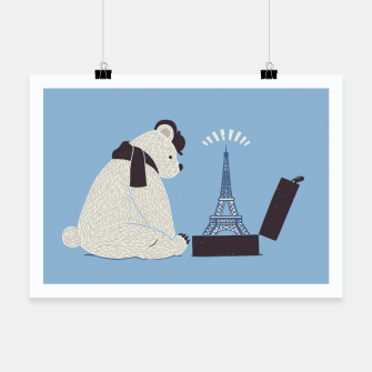 Thumbnail image of Traveler Tourist Eiffel Tower Bear Paris Poster, Live Heroes