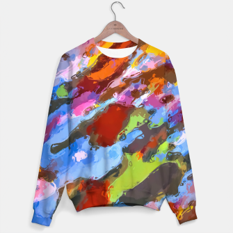 Thumbnail image of camouflage pattern painting abstract background in green blue pink orange brown Sweater, Live Heroes