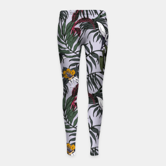Thumbnail image of Delicate botanical jungle pattern Leggings para niña, Live Heroes