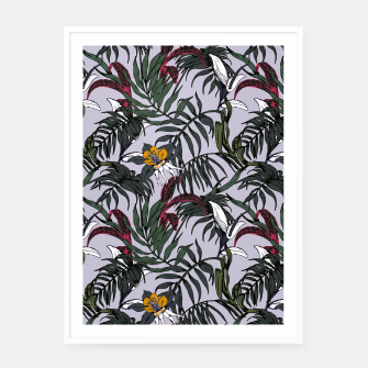 Thumbnail image of Delicate botanical jungle pattern Cartel con marco, Live Heroes
