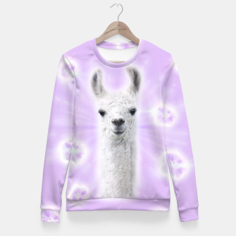 Thumbnail image of Superstar Llama Fitted Waist Sweater, Live Heroes