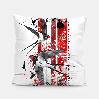 Thumbnail image of wings of a swallow Pillow, Live Heroes