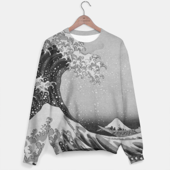 Thumbnail image of Black and White Japanese Great Wave off Kanagawa by Hokusai Cotton sweater, Live Heroes