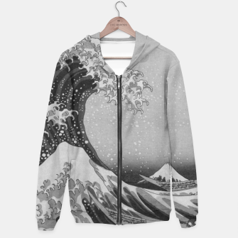Thumbnail image of Black and White Japanese Great Wave off Kanagawa by Hokusai Cotton zip up hoodie, Live Heroes
