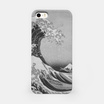 Thumbnail image of Black and White Japanese Great Wave off Kanagawa by Hokusai iPhone Case, Live Heroes