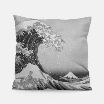 Thumbnail image of Black and White Japanese Great Wave off Kanagawa by Hokusai Pillow, Live Heroes