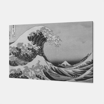 Thumbnail image of Black and White Japanese Great Wave off Kanagawa by Hokusai Canvas, Live Heroes