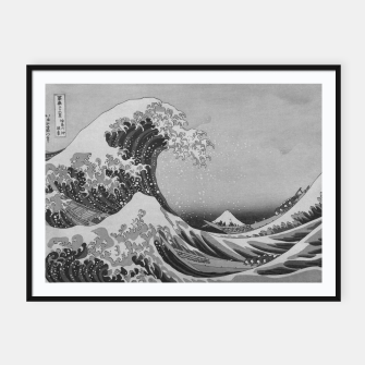 Thumbnail image of Black and White Japanese Great Wave off Kanagawa by Hokusai Framed poster, Live Heroes