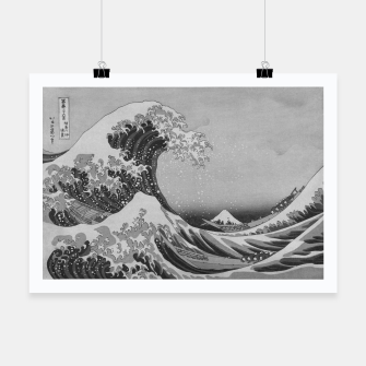 Thumbnail image of Black and White Japanese Great Wave off Kanagawa by Hokusai Poster, Live Heroes
