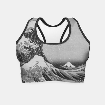Thumbnail image of Black and White Japanese Great Wave off Kanagawa by Hokusai Crop Top, Live Heroes