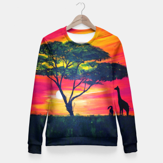 Thumbnail image of Beautiful Africa Giraffe Sunset Fitted Waist Sweater, Live Heroes