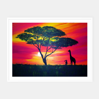 Thumbnail image of Beautiful Africa Giraffe Sunset Framed poster, Live Heroes