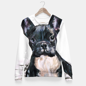 Cute French Bulldog Painting Fitted Waist Sweater thumbnail image