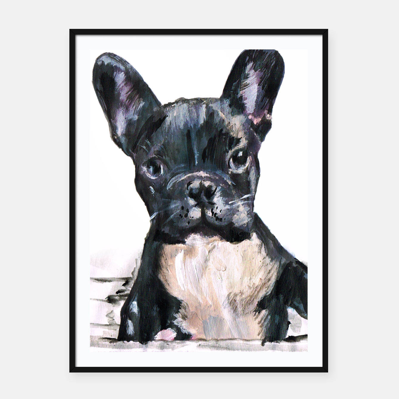 Image of Cute French Bulldog Painting Framed poster - Live Heroes