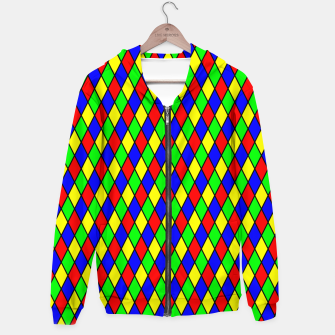 Thumbnail image of Bright Primary Color Harlequin Windowpane Diamond Pattern Hoodie, Live Heroes