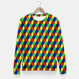Thumbnail image of Bright Primary Color Harlequin Windowpane Diamond Pattern Fitted Waist Sweater, Live Heroes
