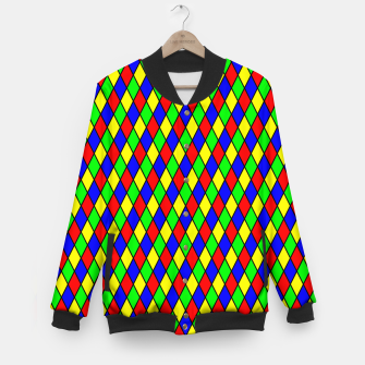Thumbnail image of Bright Primary Color Harlequin Windowpane Diamond Pattern Baseball Jacket, Live Heroes