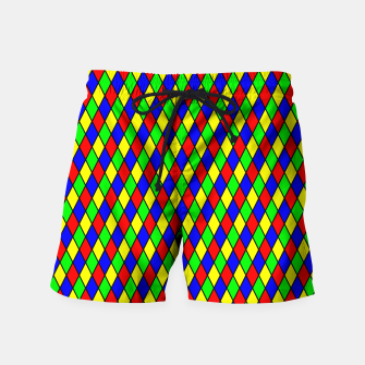 Thumbnail image of Bright Primary Color Harlequin Windowpane Diamond Pattern Swim Shorts, Live Heroes