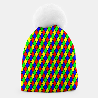 Thumbnail image of Bright Primary Color Harlequin Windowpane Diamond Pattern Beanie, Live Heroes