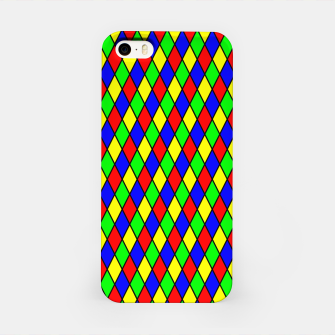 Thumbnail image of Bright Primary Color Harlequin Windowpane Diamond Pattern iPhone Case, Live Heroes