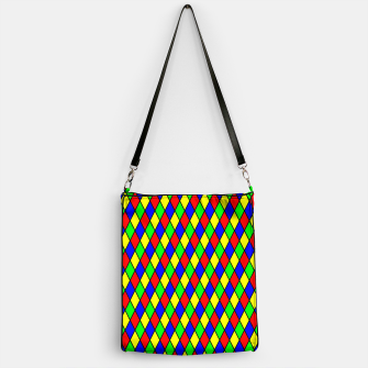 Thumbnail image of Bright Primary Color Harlequin Windowpane Diamond Pattern Handbag, Live Heroes