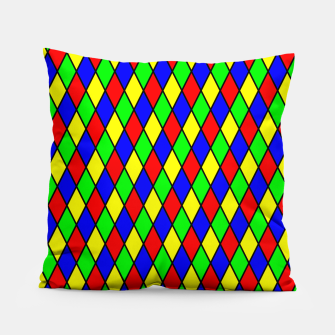 Thumbnail image of Bright Primary Color Harlequin Windowpane Diamond Pattern Pillow, Live Heroes