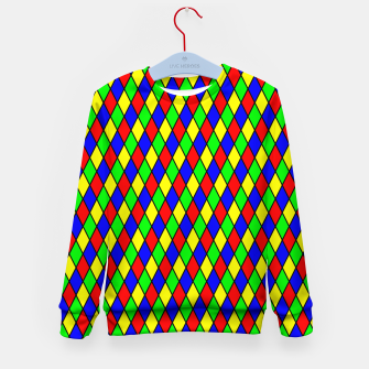 Thumbnail image of Bright Primary Color Harlequin Windowpane Diamond Pattern Kid's Sweater, Live Heroes