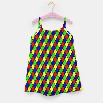 Thumbnail image of Bright Primary Color Harlequin Windowpane Diamond Pattern Girl's Dress, Live Heroes
