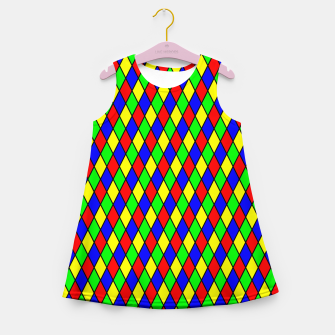Thumbnail image of Bright Primary Color Harlequin Windowpane Diamond Pattern Girl's Summer Dress, Live Heroes