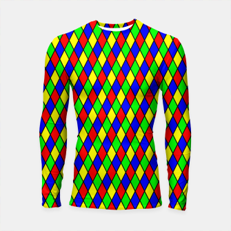 Thumbnail image of Bright Primary Color Harlequin Windowpane Diamond Pattern Longsleeve Rashguard , Live Heroes